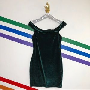 NEW Urban Outfitters velvet off shoulder dress